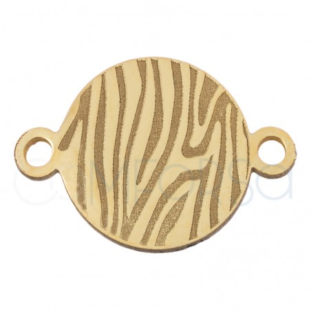 Sterling silver 925 gold-plated zebra print connector 10 mm