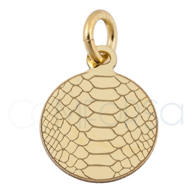 Sterling silver 925 gold-plated snakeskin print pendant 10 mm