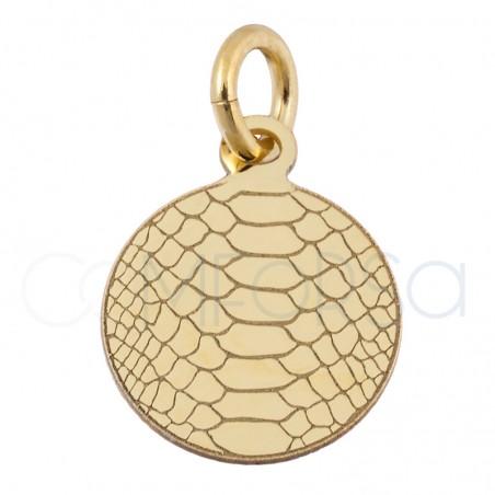 Colgante chapa serpiente 10 mm plata chapada en oro