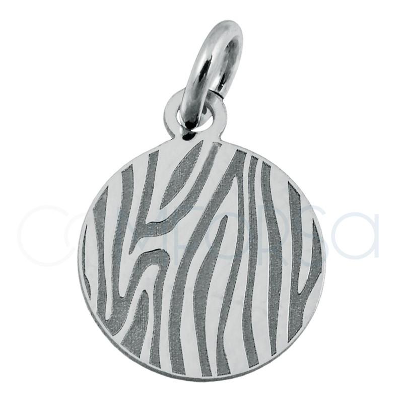 Sterling silver 925 zebra print pendant 10 mm