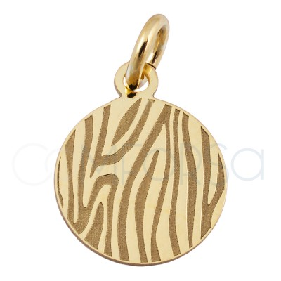 Sterling silver 925 gold-plated zebra print pendant 10 mm