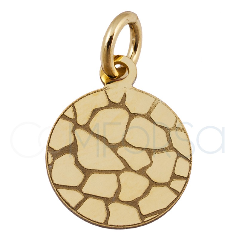 Sterling silver 925 gold-plated crocodile print pendant 10 mm