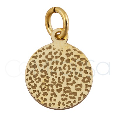 Sterling silver 925 gold-plated leopard print pendant 10 mm