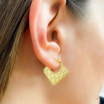 Sterling silver 925 gold-plated crocodile print earrings 25x23.7 mm