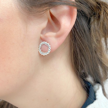 Sterling silver 925 circle of leaves 15 mm