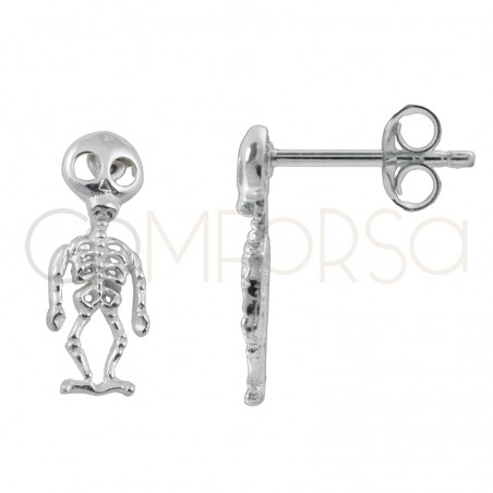 Sterling silver 925 skeleton earrings 5.5 X 15 mm