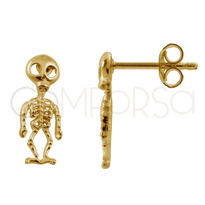 Sterling silver 925 gold-plated skeleton earrings 5.5 X 15 mm