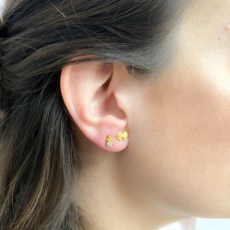 Sterling silver 925 earring with zirconia 3mm and balls 2mm