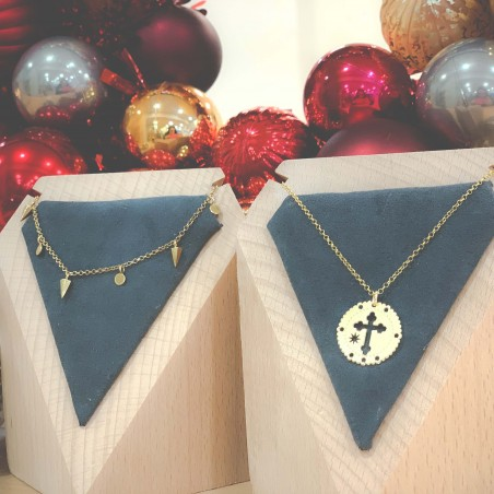 Sterling silver 925 pendants with cross and star 20mm