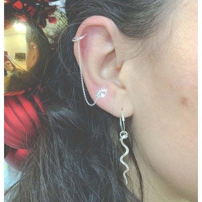 Sterling silver 925 ear cuff with chain and jump ring