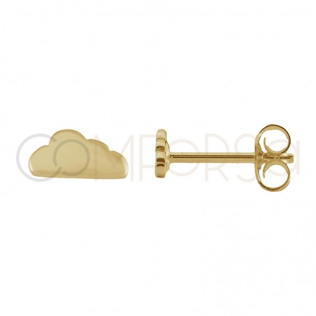 Sterling silver 925 gold-plated cloud earrings 8 x 4 mm