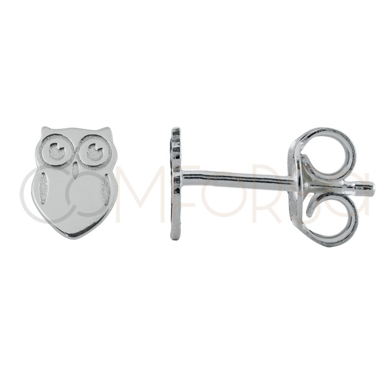Sterling silver 925 mini owl earrings 4.5 x 6 mm
