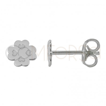 Sterling silver 925 clover earrings 6 mm