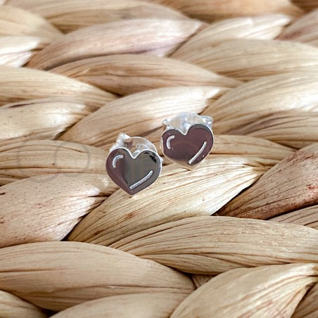 Sterling silver 925 mini heart earrings 6 x 5mm
