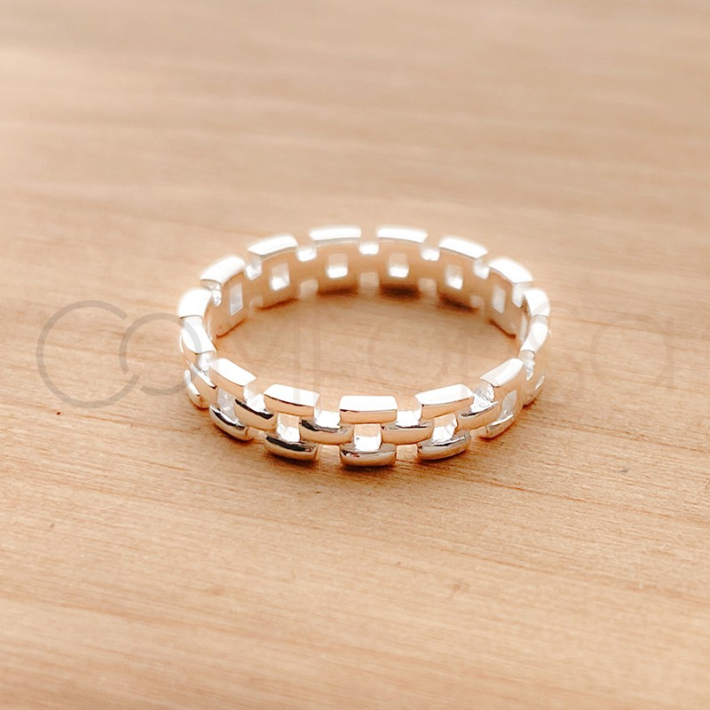 Sterling silver 925 interlaced chain ring