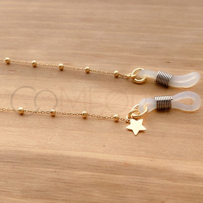 Sterling silver 925 gold-plated chain for glasses with star
