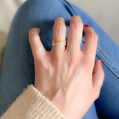 Sterling silver 925 gold-plated interlaced chain ring