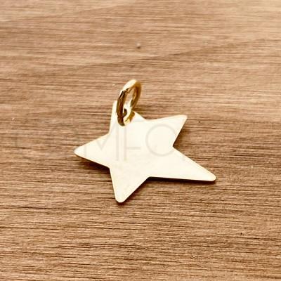 Colgante estrella irregular 13 mm plata 925 chapada en oro