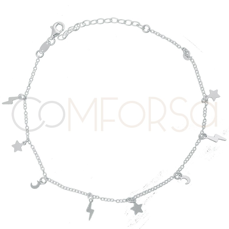 Sterling silver 925 moon, star, lightning bolt anklet