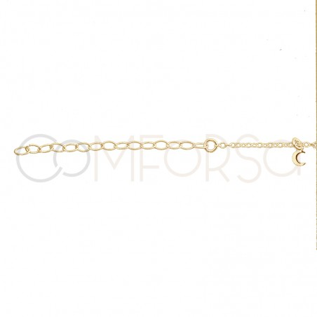 Sterling silver 925 gold-plated moon, star and lightning bolt anklet