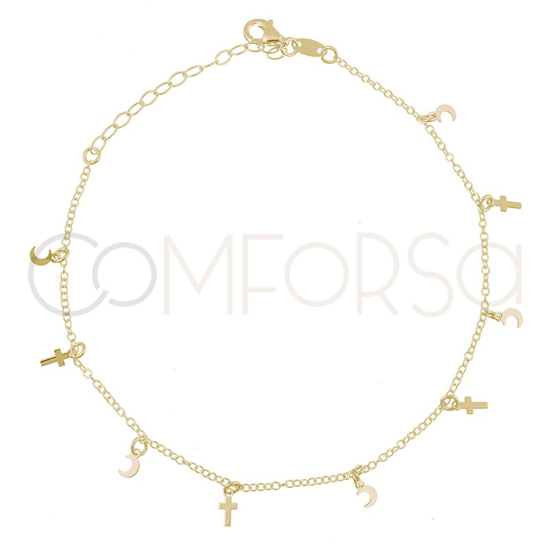 Sterling silver 925 gold-plated moon and cross anklet