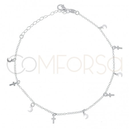 Sterling silver 925 cross and moon anklet