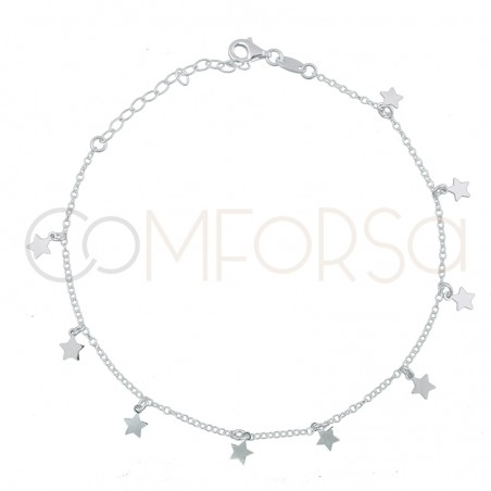 Sterling silver 925 gold-plated stars anklet 21.5 + 4.5 cm