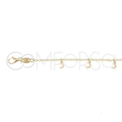 Sterling silver 925 gold-plated moons anklet