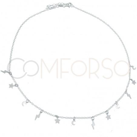 Sterling silver 925 lightning bolt, star and moon choker 40 cm