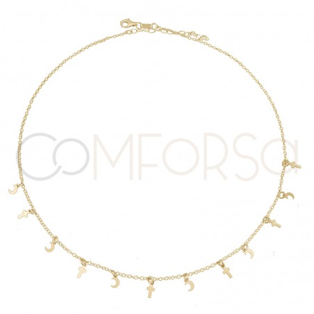Sterling silver 925 gold-plated cross and moon choker 40+5 cm