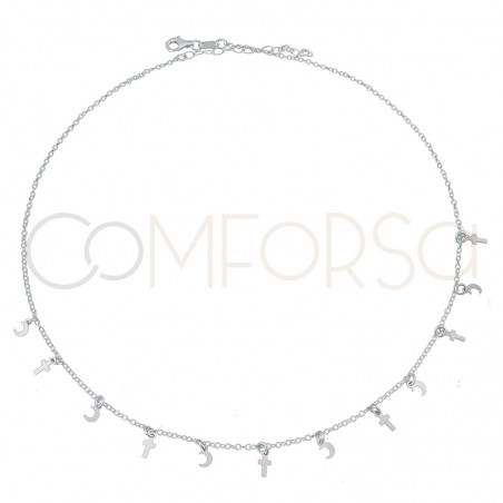 Sterling silver 925 cross and moon choker 40+5 cm