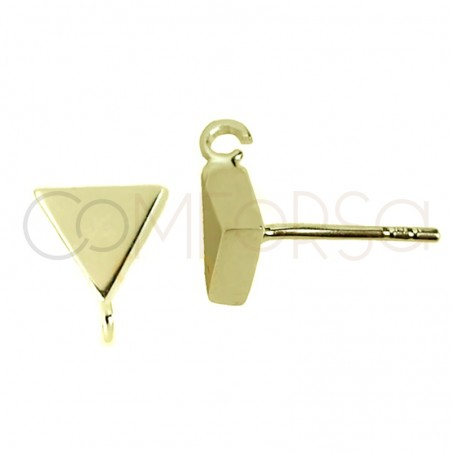 Sterling silver 925 gold-plated triangle earring with open jumpring