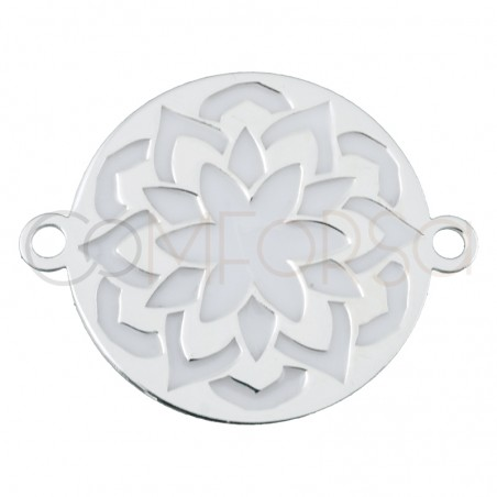 Sterling silver 925 mandala connector with white enamel 17 mm