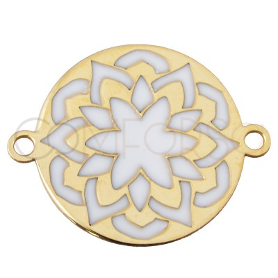 Sterling silver 925 gold-plated mandala connector with white enamel 17 mm