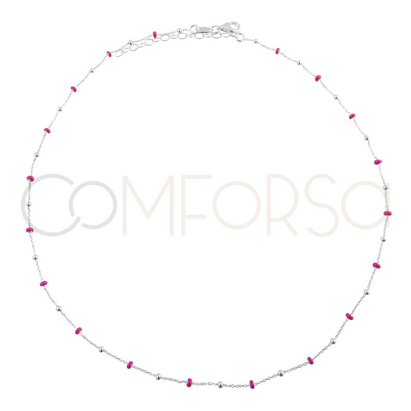 Sterling silver 925 chain with balls and pink enamel