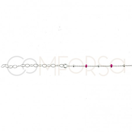 Sterling silver 925 chain with silver and pink enamel beads 40cm