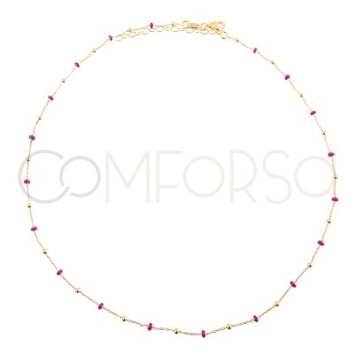 Sterling silver 925 gold-plated chain with balls and pink enamel