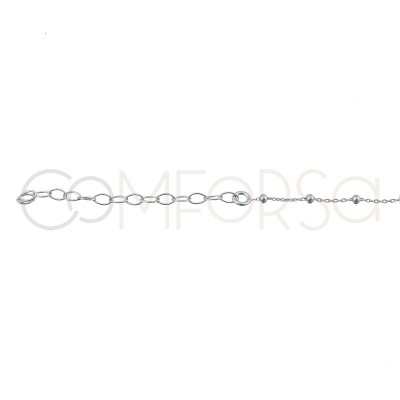 Sterling silver 925 chain with balls and white enamel