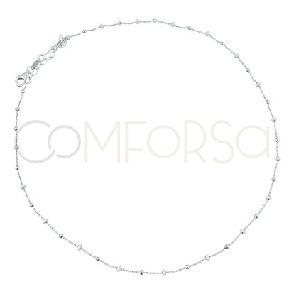 Sterling silver 925 chain with balls and white enamel 40cm
