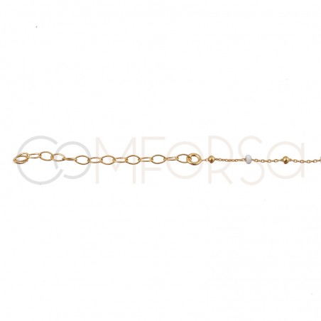 Sterling silver 925 gold-plated chain with balls and white enamel