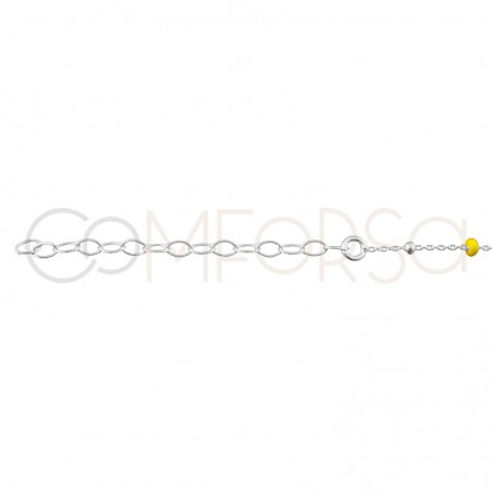Sterling silver 925 chain with balls and yellow enamel