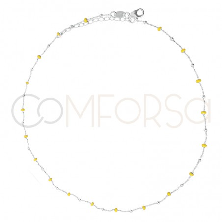 Sterling silver 925 chain with silver and yellow enamel beads 40cm
