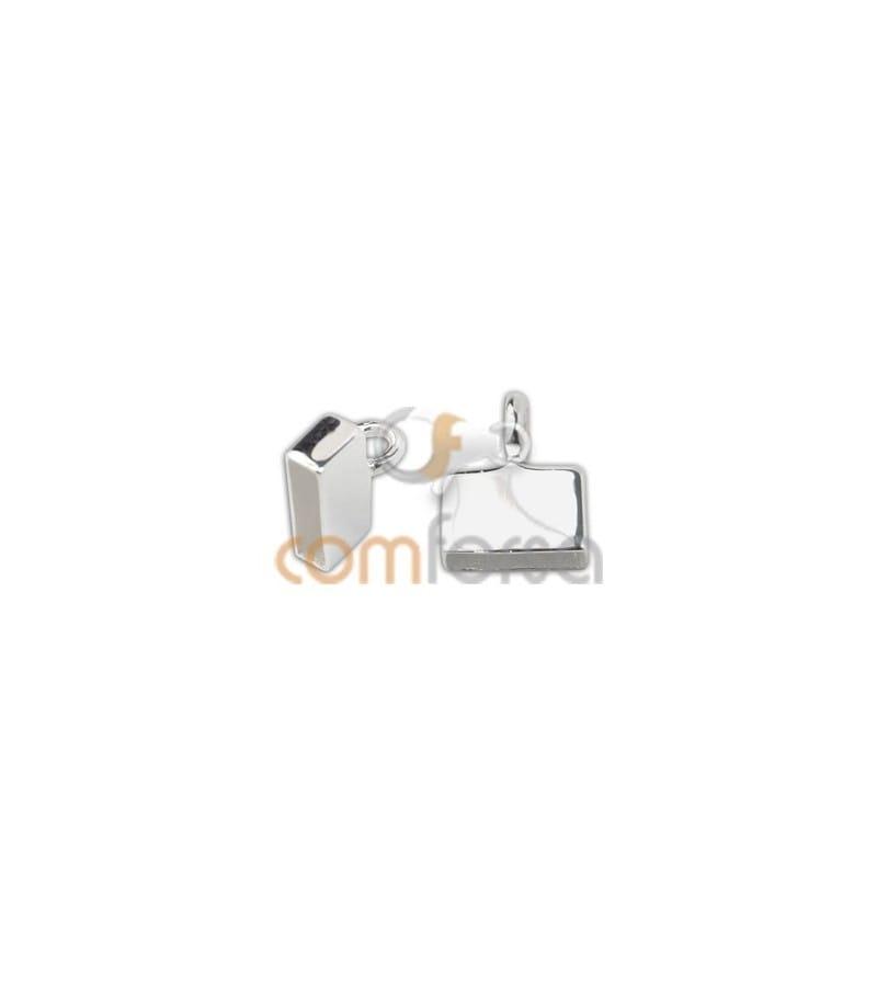 Terminal plano con anilla  8x 2.5mm plata 925