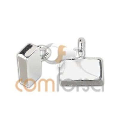 Sterling silver 925 flat end cap with ring 8 x 2.5 mm