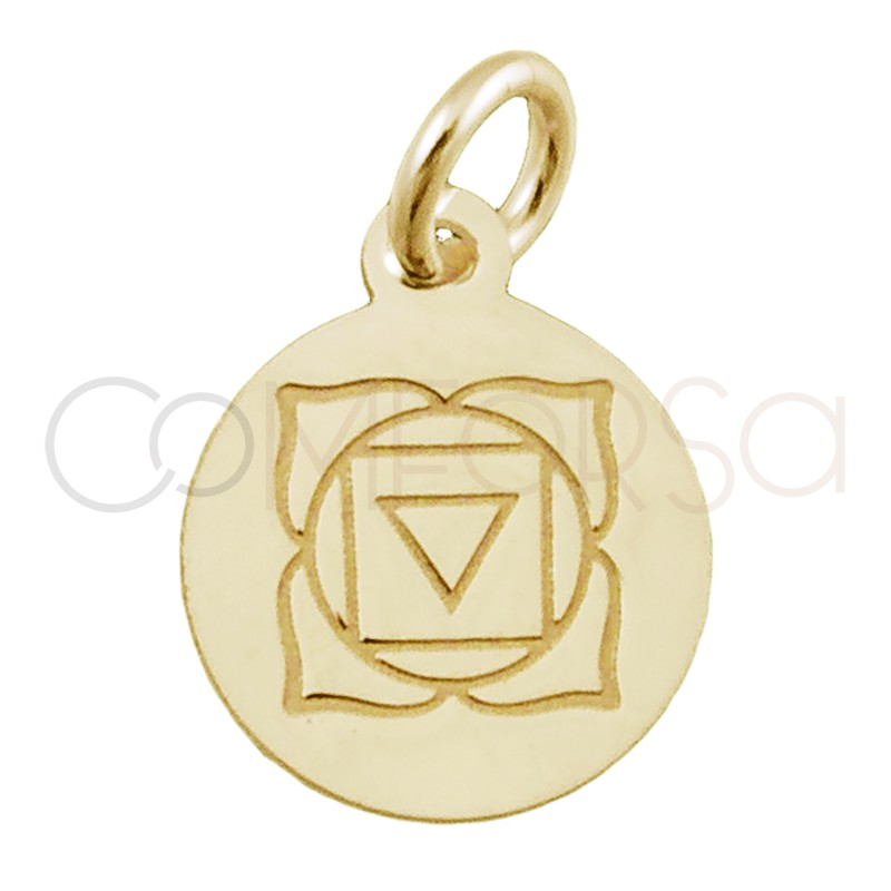 """Sterling silver 925 gold-plated """"MULADHARA"""" pendant 10 mm"""