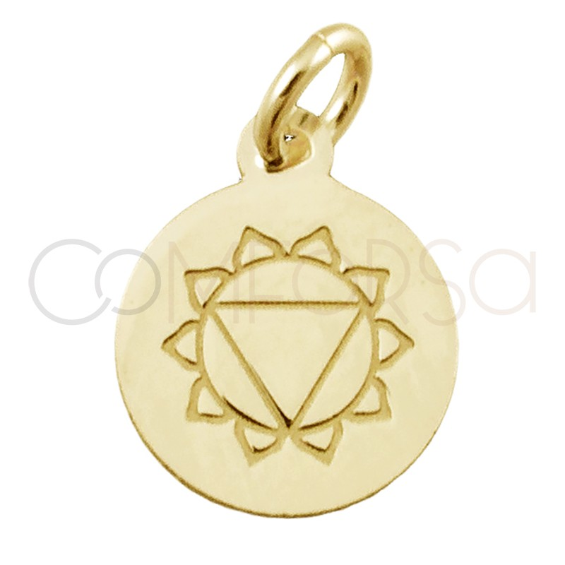 """Sterling silver 925 gold-plated """"MANIPURA"""" pendant 10 mm"""