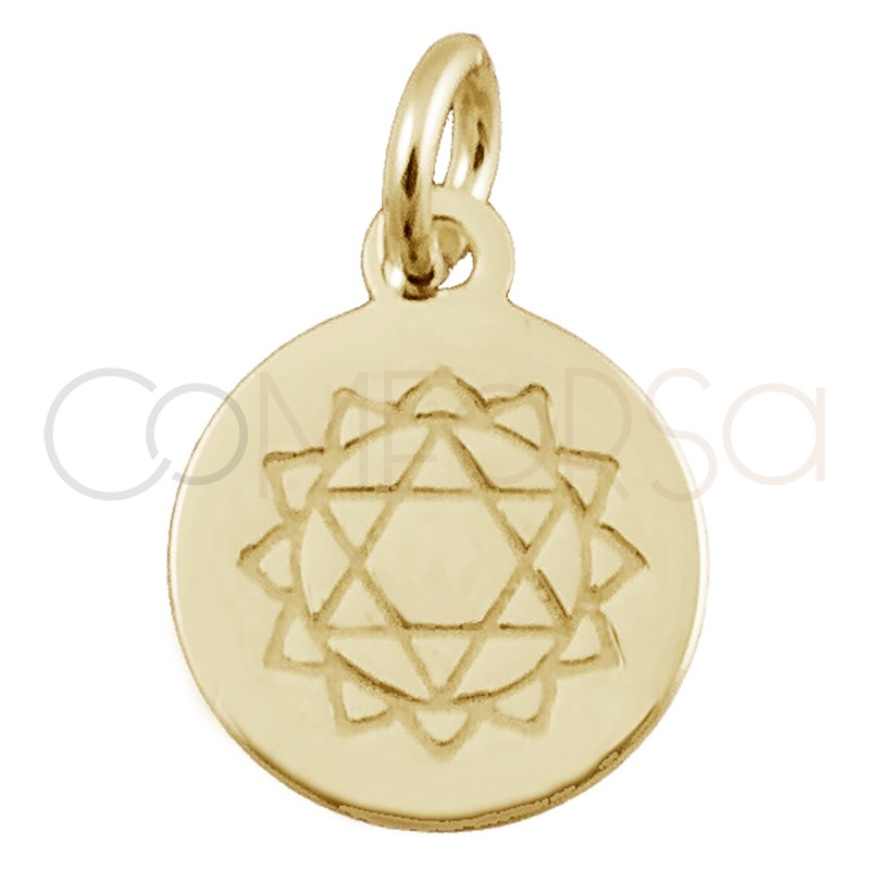 "Colgante chakra ""ANAHATA"" 10mm plata 925 chapada en oro"