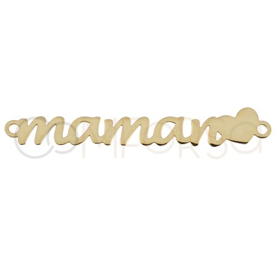 Sterling silver 925 gold-plated maman with heart connector 25 mm