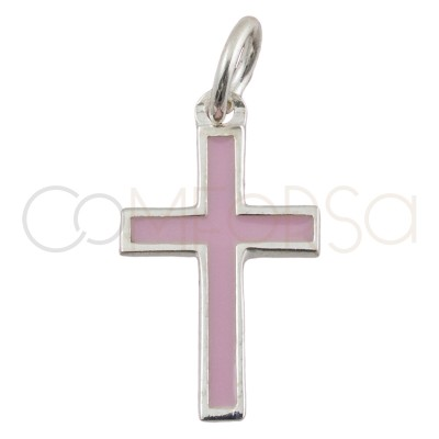 Sterling silver 925 cross pendant  with pale pink enamel 9 x 16 mm