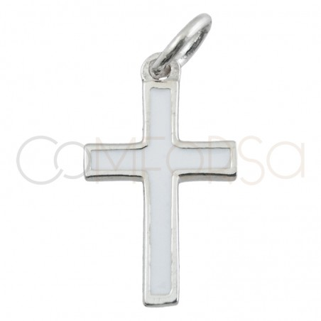 Sterling silver 925 cross pendant  with white enamel 9 x 16 mm